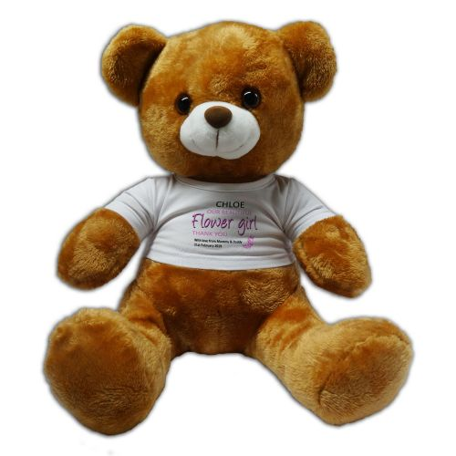 Personalised Flower Girl 30cm Plush Soft Toy Bear